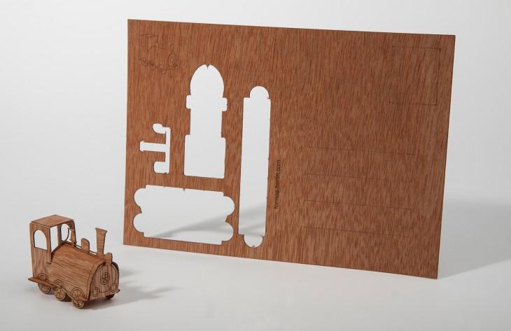 Locomotive - Wooden Postcard