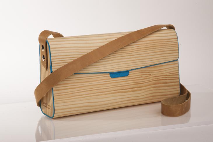 Wooden Handbag Pine Petrol