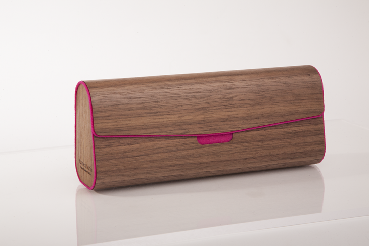 Mäppchen aus Holz Nuss Pink