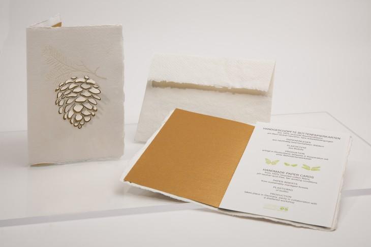 Tannenzapfen - Klappkarte aus Büttenpapier