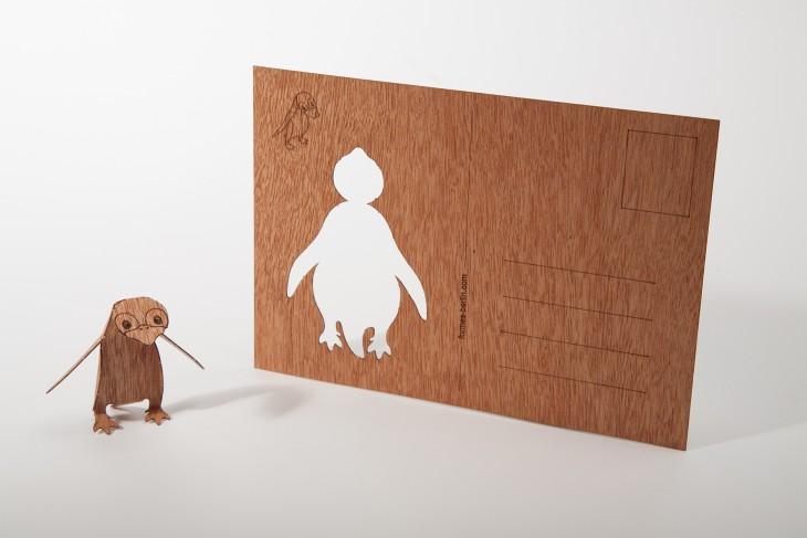Pinguin - Holzpostkarte