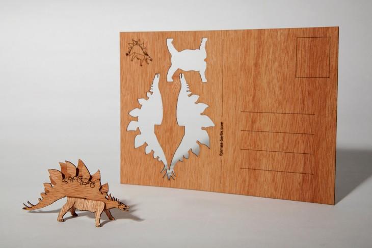 Stegosaurus - Holzpostkarte
