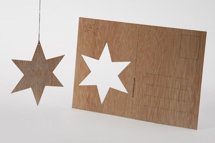 Dots star - Wooden Postcard