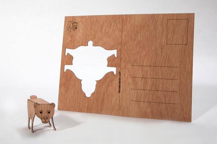 Bear - Wooden Postcard
