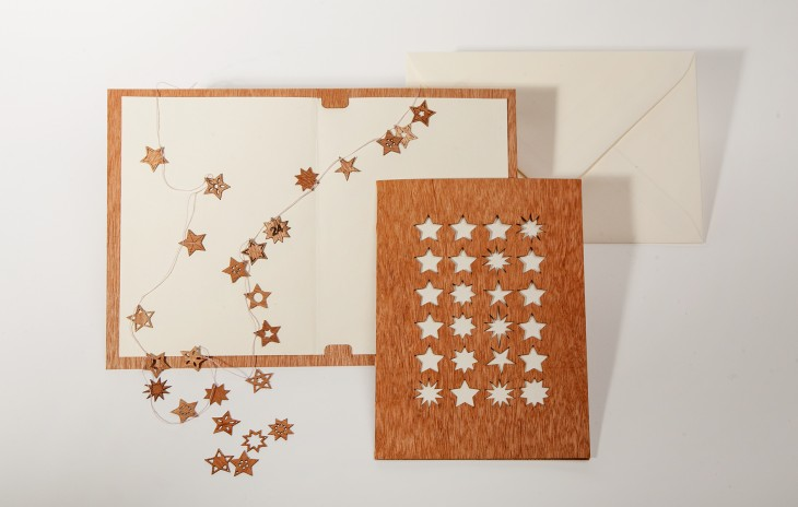 24 Stars - Wooden Greeting Card