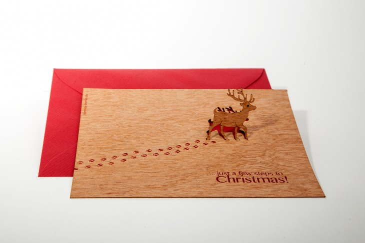 Rentier, Just a few steps to Christmas - Holzgrußkarte mit Pop Up Motiv