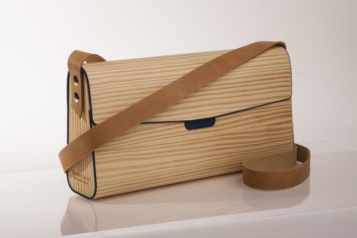 Handtasche aus Holz Kiefer Dunkelblau