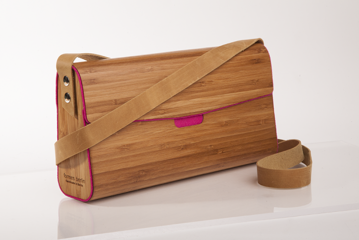 Handtasche aus Holz Bambus Pink
