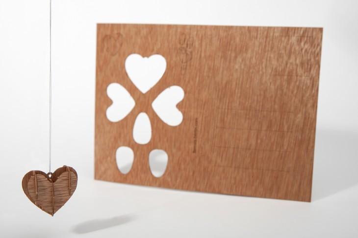 Herz - Holzpostkarte