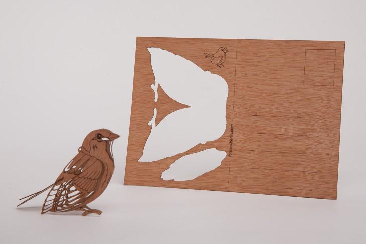 Spatz - Holzpostkarte
