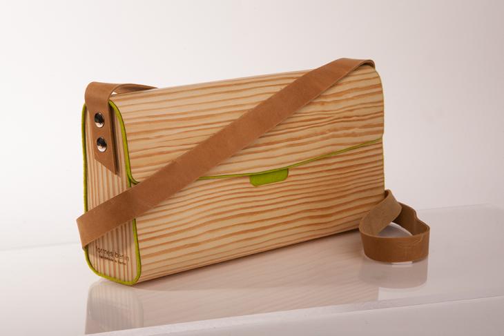 Handtasche aus Holz Kiefer Grün