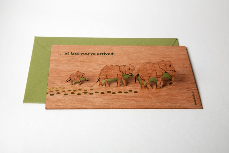 At last you've arrived - Wooden Greeting Card with Pop Up Motif