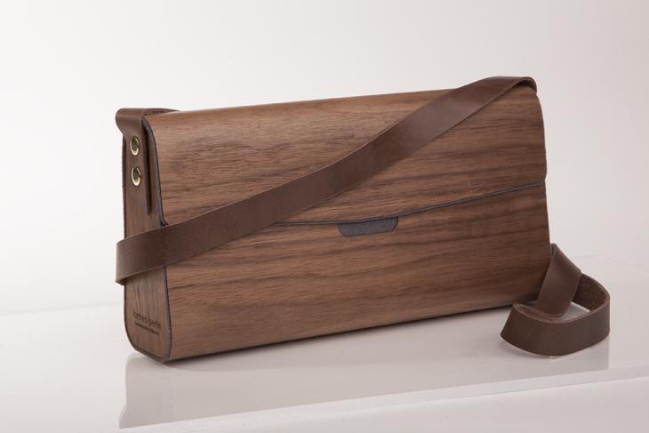 Handtasche aus Holz Nuss Grau