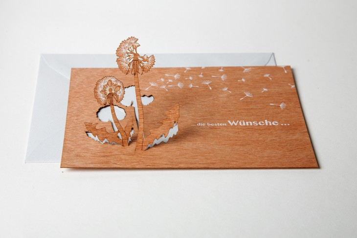 Die besten Wünsche - Holzgrußkarte mit PopUp Motiv