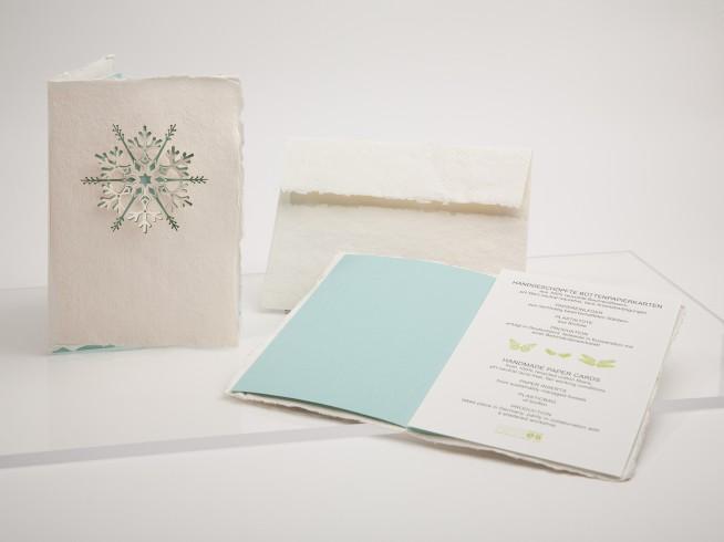 Schneeflocke - Klappkarte aus Büttenpapier