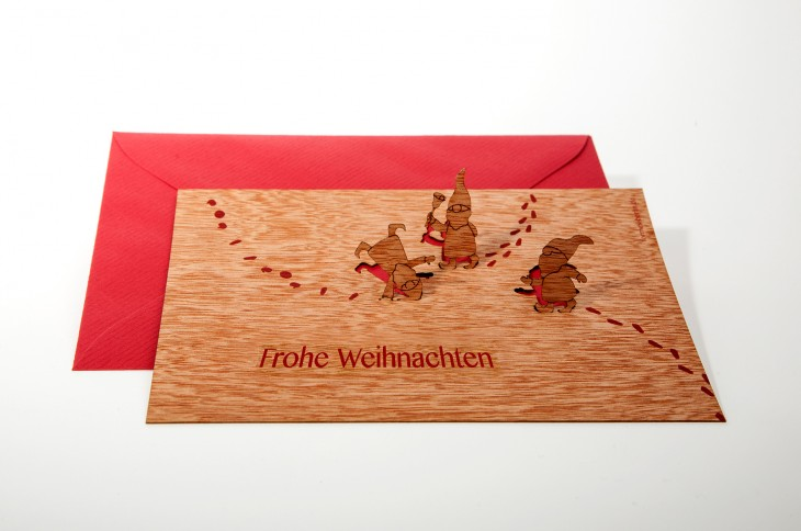 Imp, Frohe Weihnachten - Wooden Greeting Card with PopUp-Motif