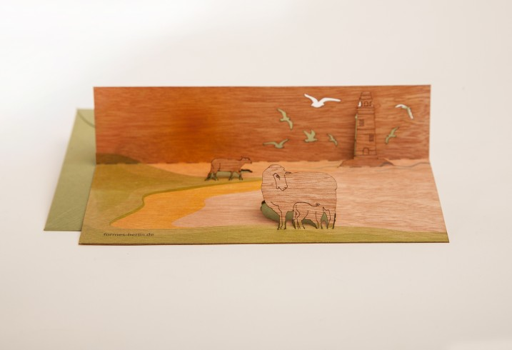 Sheep on dike - Wooden Greeting Card with Pop Up Motif