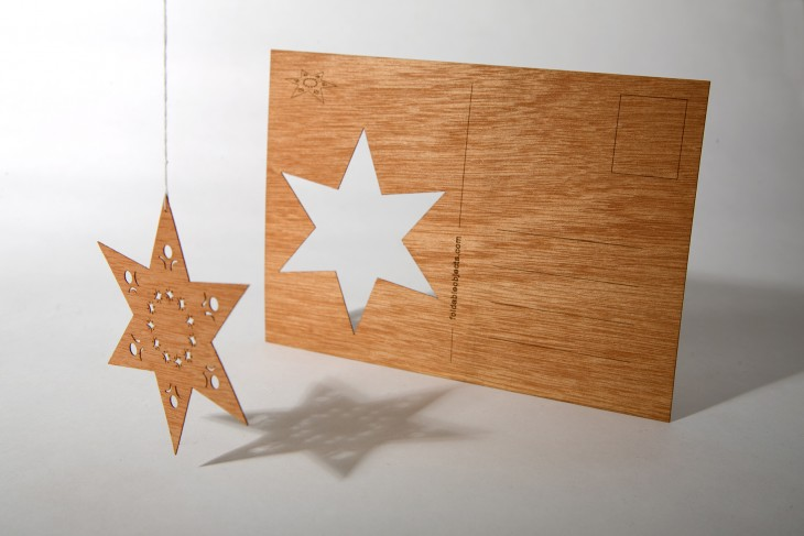 Stern - Holzpostkarte