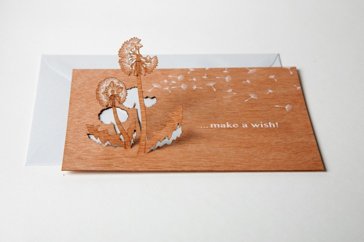 Make a Wish - Wooden Greeting Card with Pop Up Motif