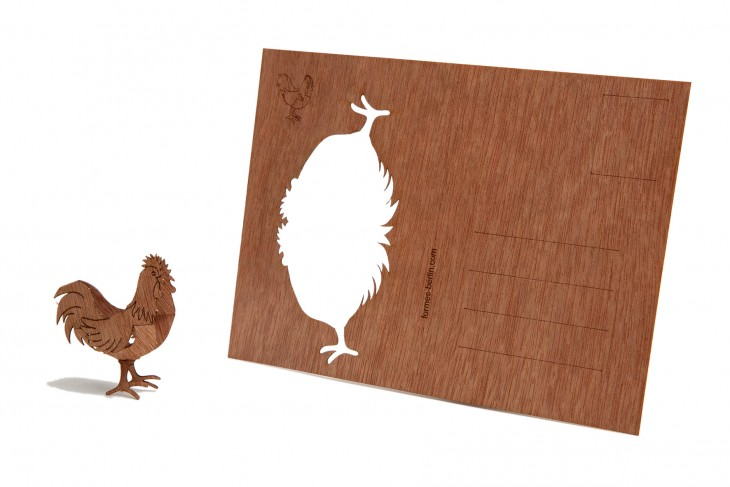 Rooster - Wooden Postcard